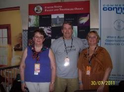 left to right – Barbara Yokom, DPL, John Calvert, USPTO, Mary Kordyban, DPL.  Maker Faire, July 30, 2011