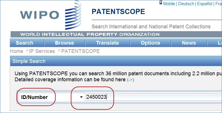 Search for target patent